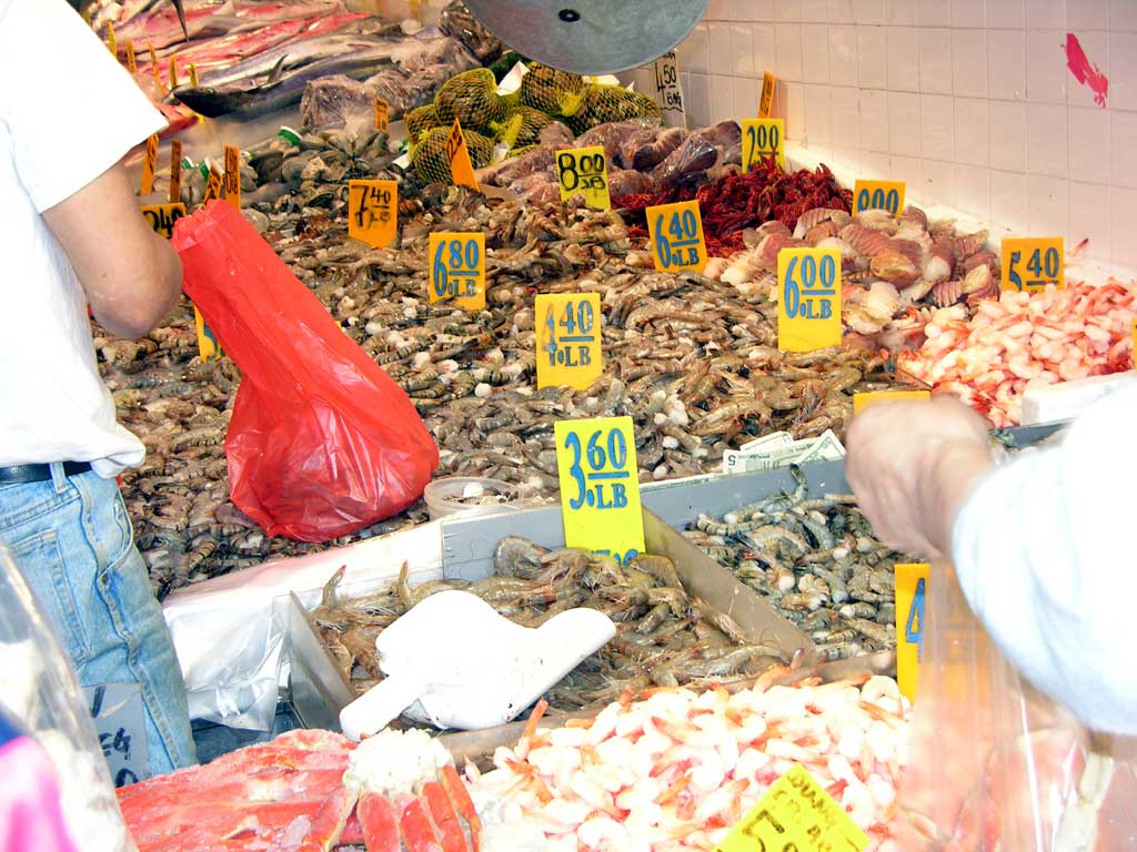 A fish market in Chinatown