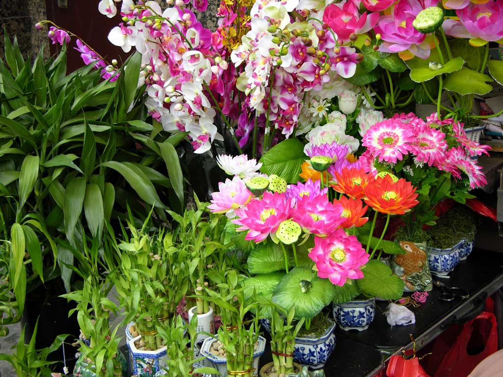 Flowers outside a market in Chinatown