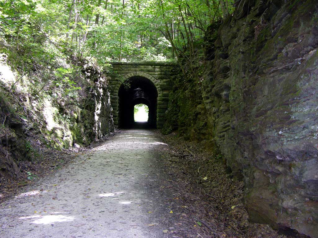 An old train tunnel along the Katy Trail in Rocheport, Missouri