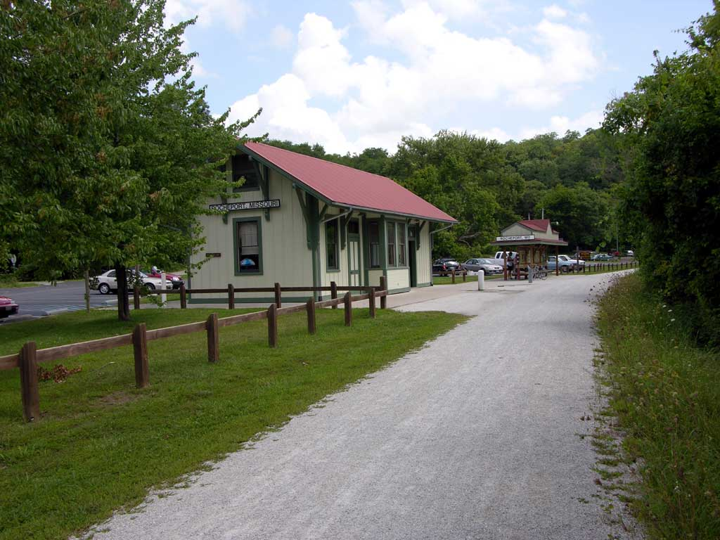 The old train station in Rocheport, MO along the katy Trail