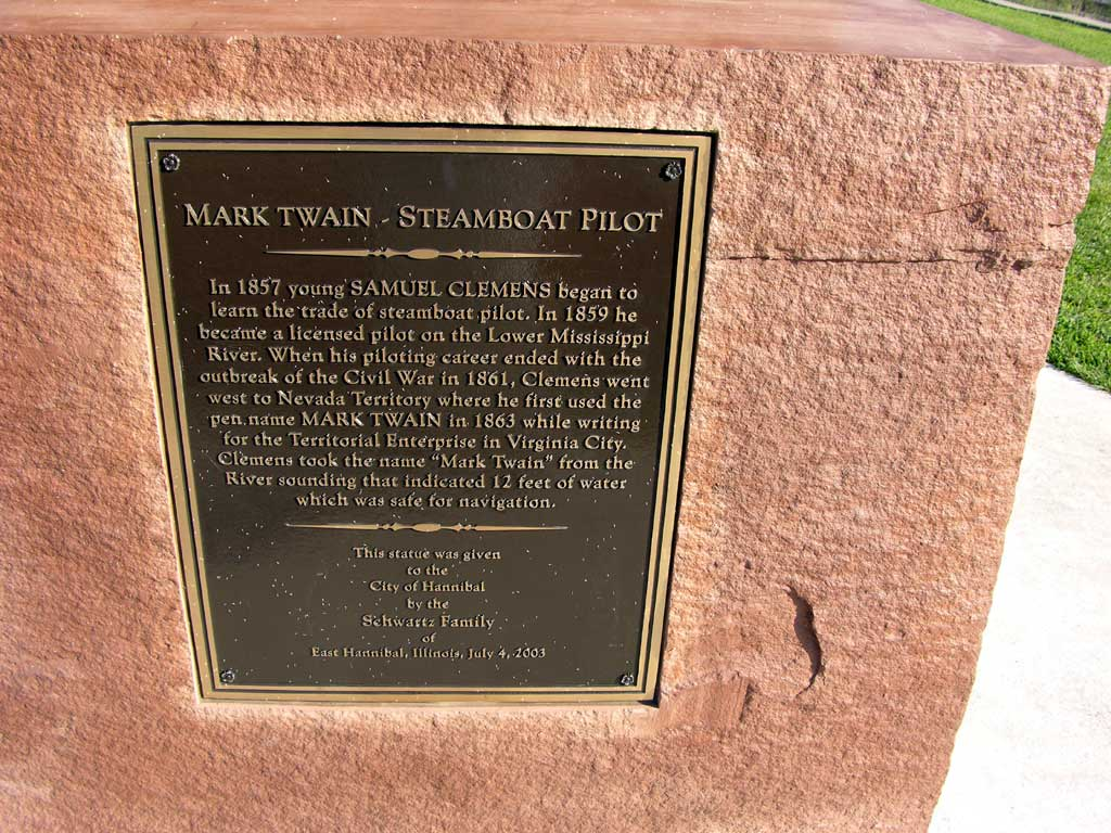 Plaque on the base of the statue of Mark Twain