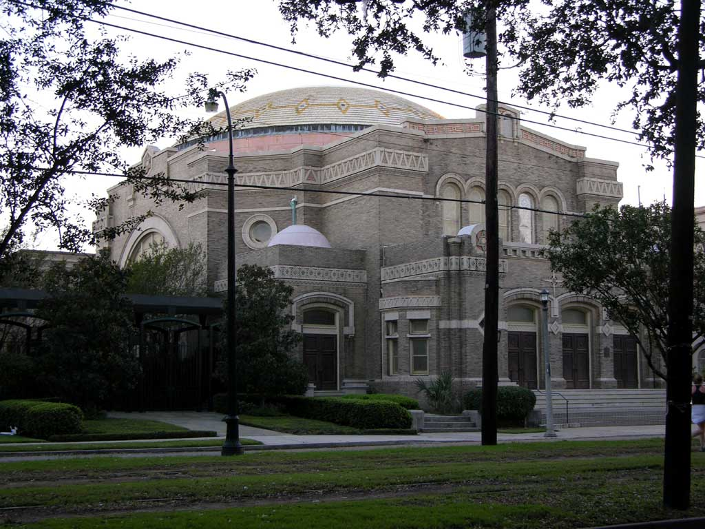 A synagogue on St. Charles Avenue in the Garden District
