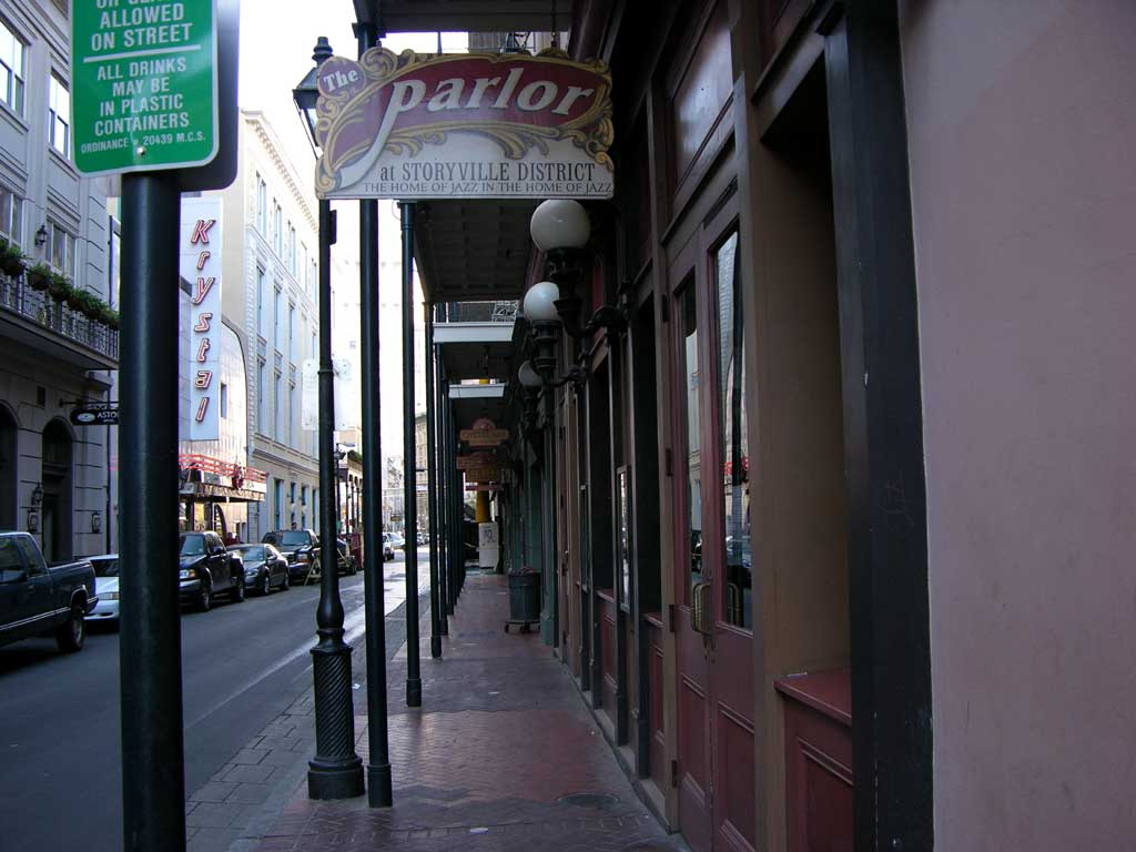 The Parlor at Storyville District, <q>The home of jazz in the home of jazz,</q> in the French Quarter