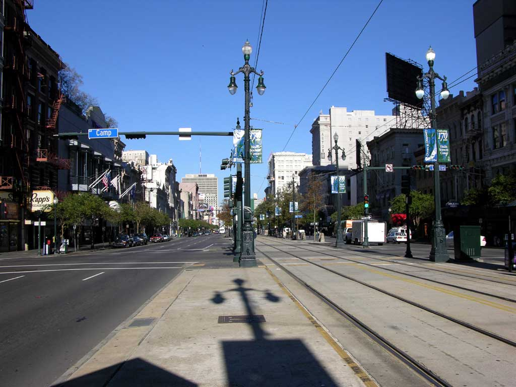 A view of Canal Street, next to the French Quarter