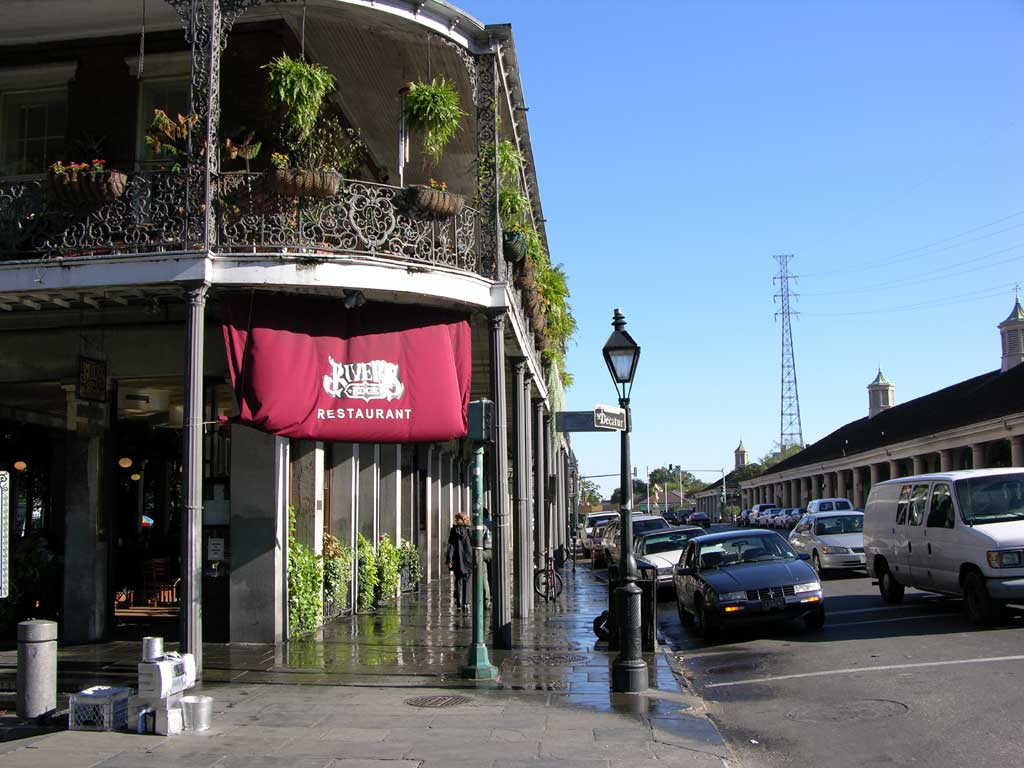 Rivers Edge restaurant across the street from the Cafe du Monde. I got a great breakfast here.