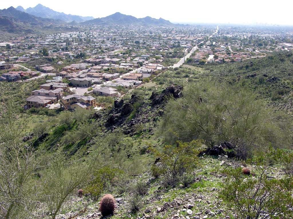 Overlooking Phoenix from one of the peaks of the Phoenix Mountains Preserve