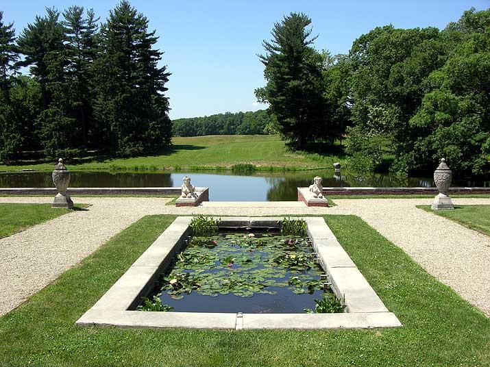 Allerton Park pond in front of the mansion