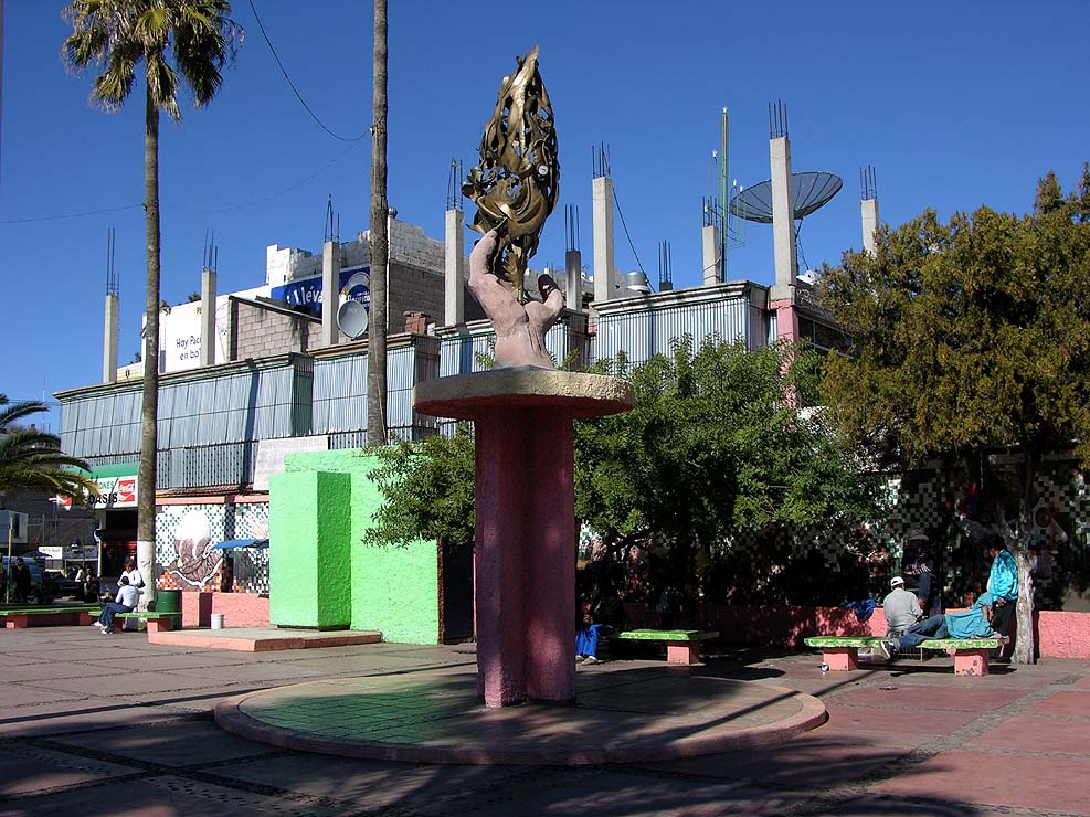 Sculpture in a plaza in Nogales, Mexico