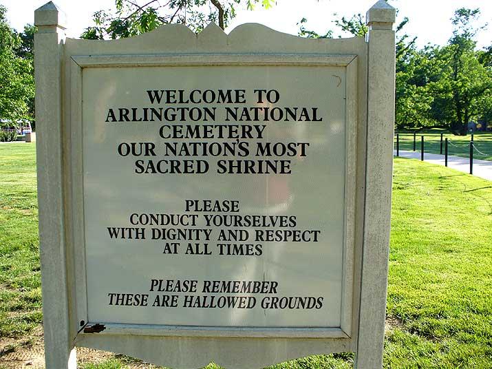 Arlington National Cemetary sign