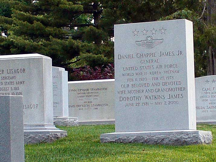 Arlington National Cemetary grave of Chappie James, the first black US four-star general